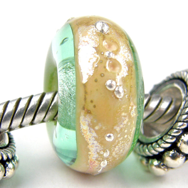 Handmade Large Hole Lampwork Beads, Pale Emerald Green Ivory Band Silver Shiny