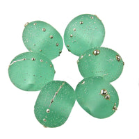 Handmade Lampwork Glass Beads, Pale Emerald Green Starlight Silver Etched