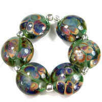 Handmade Lampwork Glass Lentil Bead Set, Pale Emerald Green Raku Frit Shiny