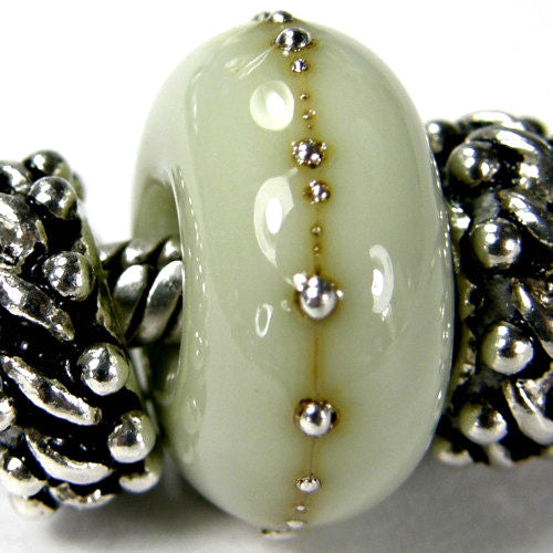 Handmade Large Hole Lampwork Beads, Artisan Glass Charm Olive Green Silver