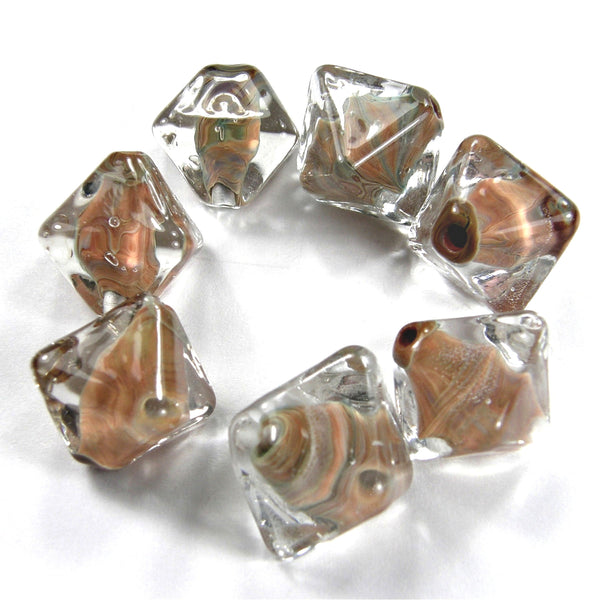 Handmade Lampwork Glass Diamond Beads, Encased Pandora Tan Brown Shiny