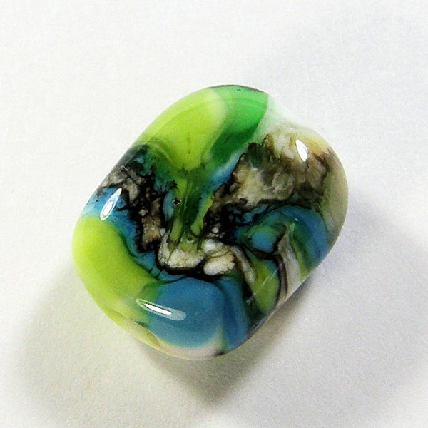 Handmade Lampwork Glass Beads, Blue Ivory Green White Stripes Webs