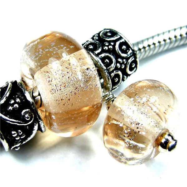 Handmade Large Hole Lampwork Beads, Glass Charm Set, Peach Dichroic