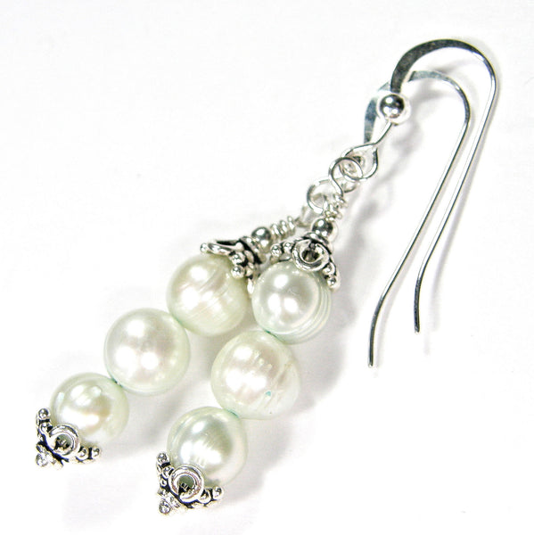 Triple Stacked Very Pale Mint Green Freshwater Pearl Dangle Earrings, Sterling Handmade