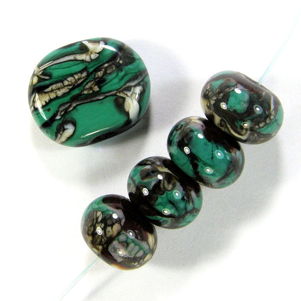 Handmade Lampwork Glass Beads, Petroleum Green Black White Webs Set