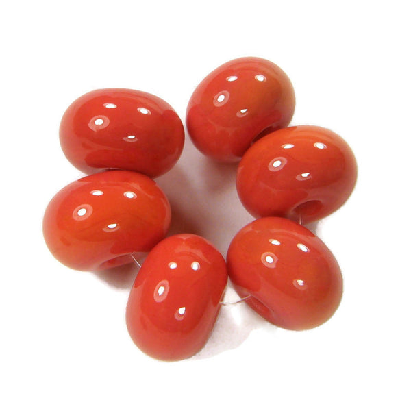 Phoenix Orange Handmade Lampwork Glass Beads,  Shiny Glossy 1277g