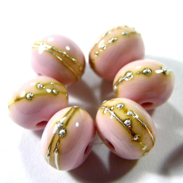Handmade Lampwork Glass Beads, Light Pastel Pink, Silver, Shiny 260gfs