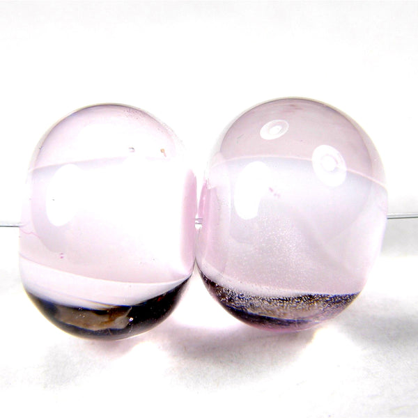 Handmade Lampwork Glass Beads, Rose Quartz Pink Shiny Glossy 067g
