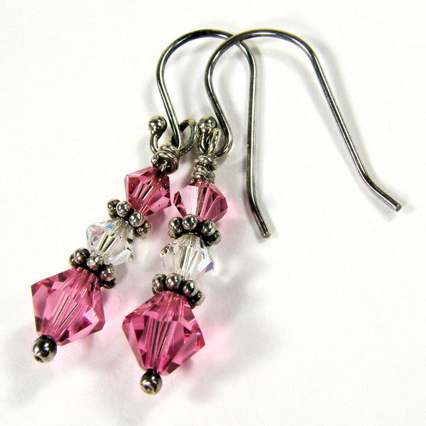 Dainty Pink and Clear Swarovski Crystal Dangle Earrings Sterling Handmade