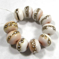 Handmade Lampwork Glass Beads, Pink Tongue Silver Shiny Glossy 258gfs