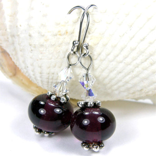 Amethyst Purple Lampwork Dangle Earrings with Swarovski Crystals Sterling Silver