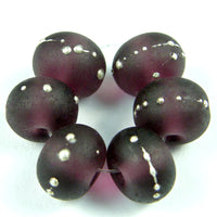 Handmade Lampwork Glass Beads, Medium Amethyst Purple Silver Etched 042efs