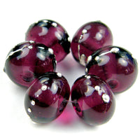Handmade Lampwork Glass Beads, Medium Amethyst Purple Silver Shiny 042gfs