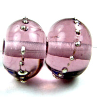 Handmade Lampwork Glass Beads, Pale Amethyst Purple Silver Shiny 046gfs