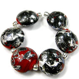 Handmade Lampwork Glass Lentil Bead Set, Rustic Red Black Silver Matrix Shiny