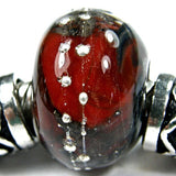 Handmade Large Hole Lampwork Beads, Encased Red Matrix Glass Charm Silver