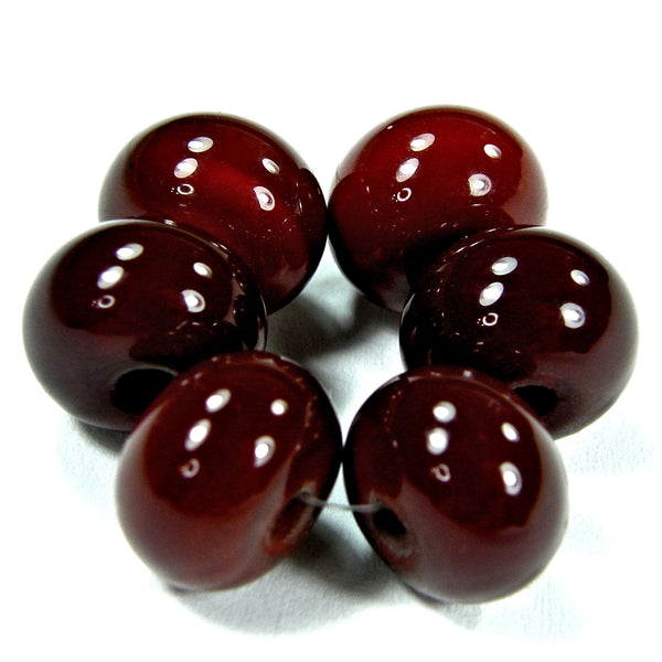Handmade Lampwork Glass Beads, Medium Red Dark Cranberry Shiny 432dkg