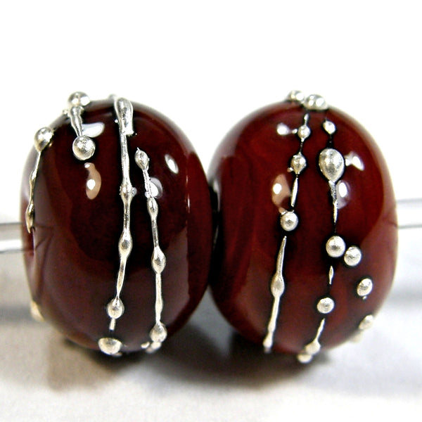 Handmade Lampwork Glass Beads, Red Flint Silver Shiny Glossy 653gfs