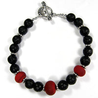 Sizzling Black Lava Rock Red Lampwork Bracelet, Sterling, Handmade Jewelry