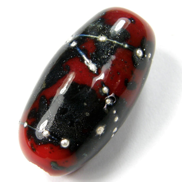 Handmade Lampwork Glass Focal Bead, Oblong Red Matrix Silver Shiny