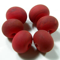 Handmade Lampwork Glass Beads, Medium Red Etched Matte 432e