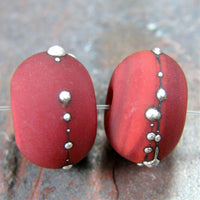Handmade Lampwork Glass Beads, Medium Red, Silver, Etched, Matte 432efs