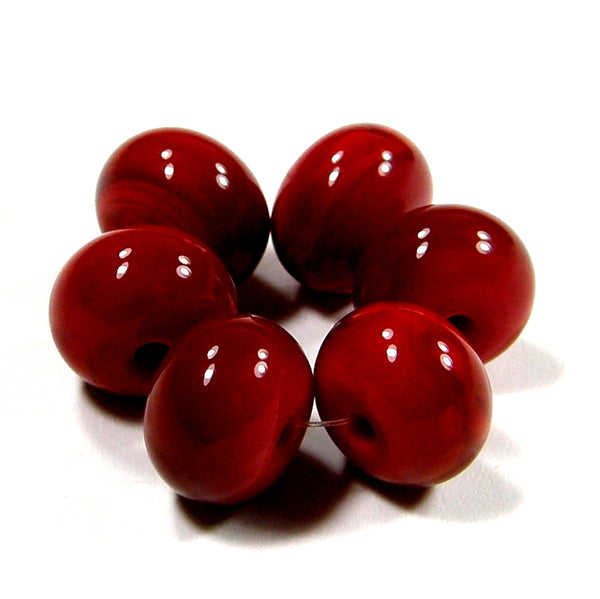 Handmade Lampwork Glass Beads, Medium Red Shiny Glossy 432g
