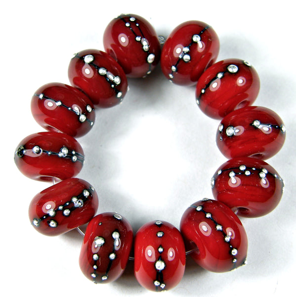 Handmade Lampwork Glass Beads, Medium Red Silver Shiny Glossy 432gfs