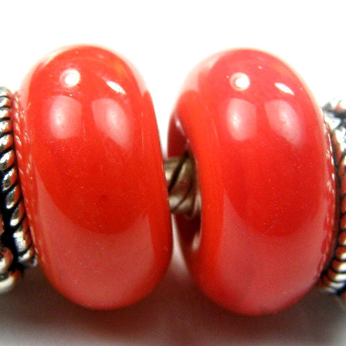 Handmade Large Hole Lampwork Beads, European Bracelet Charm, Red Orange, Shiny