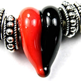 Handmade Large Hole Lampwork Beads, Glass Heart, Red Orange Black