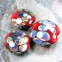 Handmade Lampwork Glass Lentil Bead Set, Red Raku Shiny