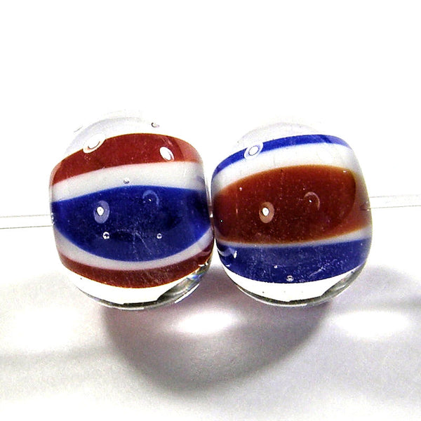 Handmade Lampwork Glass Beads, Patriotic Red White Blue Stripes Encased Shiny