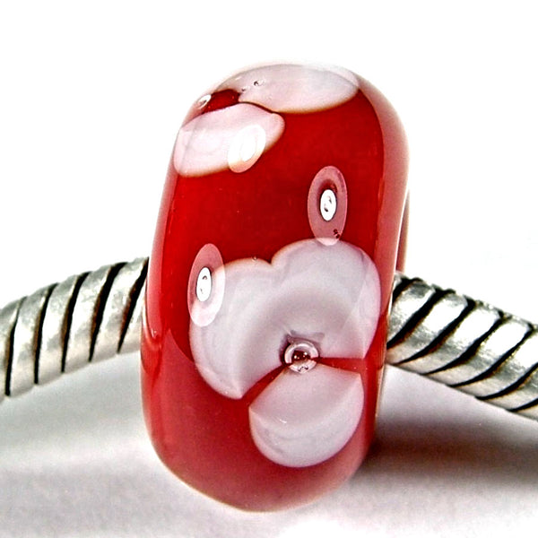 Handmade Large Hole Lampwork Beads, Lampwork Glass Flower Beads Red White