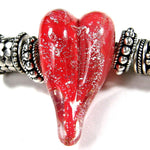 Handmade Large Hole Lampwork Beads, Glass Heart, Red Silver Dichroic