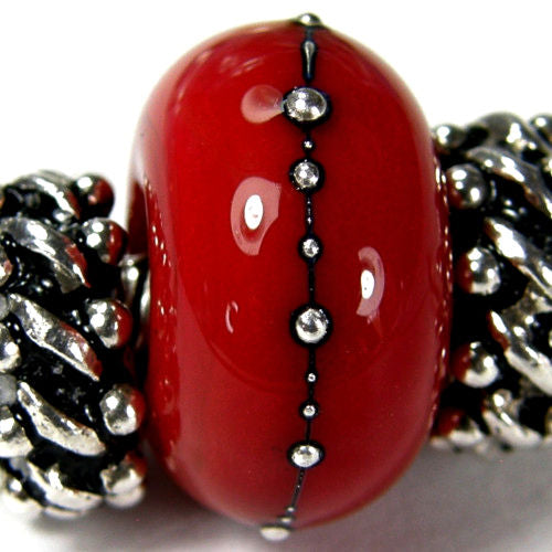 Handmade Large Hole Lampwork Beads, Handmade Glass Beads, Red Silver Shiny