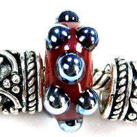 Handmade Large Hole Lampwork Beads, Art Glass Charms Red Blue Metallic Dots