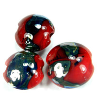 Handmade Lampwork Glass Lentil Bead Set, Red Metallic Shiny