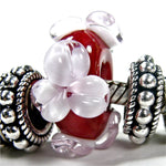 Handmade Large Hole Lampwork Beads, Lampwork Glass Flower Beads Red Pink