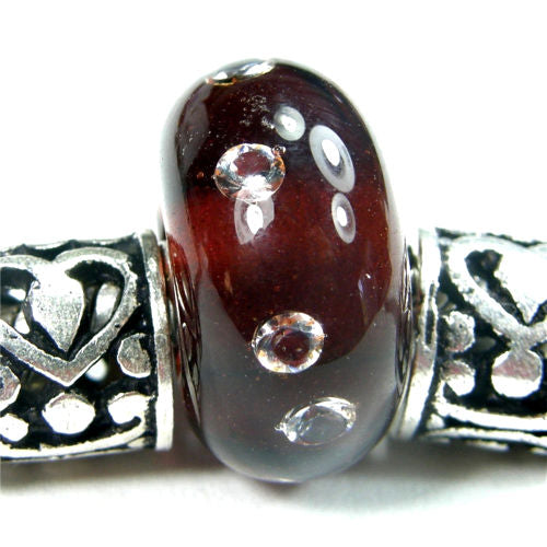 Handmade Large Hole Lampwork Beads, Glass Charm Cubic Zirconias, Amber Brown