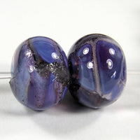 Handmade Lampwork Glass Frit Beads, Royal Violet Purple