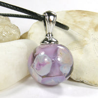 Moons Over Lavender Lampwork Pendant Necklace Galaxy Globe Sphere 20017