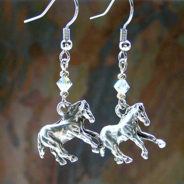 Silver Galloping Horse Earrings, Swarovski Crystals, Handmade Jewelry