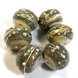 Handmade Lampwork Glass Beads, Organic Rustic Silvered Ivory Silver Shiny Glossy 276hvysigfs