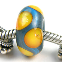 Handmade Large Hole Lampwork Beads, Glass Charms Dark Sky Blue Apricot Dots