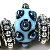 Handmade Large Hole Lampwork Beads, Glass European Beads, Sky Blue Black Dots