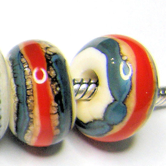 Handmade Large Hole Lampwork Beads, Southwest Euro Style Ivory Blue Wide Coral Band