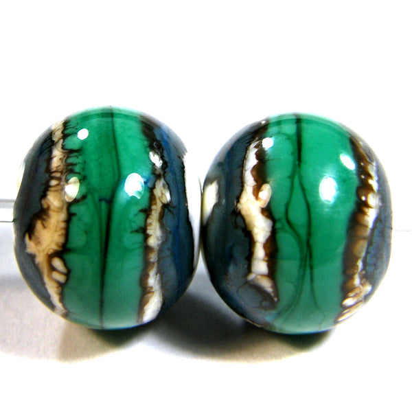Handmade Lampwork Glass Beads, Southwest Ivory Turquoise Petroleum Green Shiny