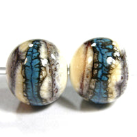 Handmade Lampwork Glass Beads, Southwest Ivory Turquoise Brown Shiny