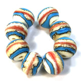 Handmade Lampwork Glass Beads, Southwest Ivory Coral Blue Etched