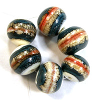 Handmade Lampwork Glass Beads, Southwest Ivory Coral Blue Shiny